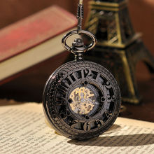 Antique Cool Roman Numerals Mechanical Pocket Watch Vintage Steampunk Pocket Watch With Chain High Quality Skeleton Watches(China (Mainland))