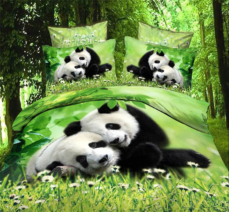 Panda Animal 4pcs 3D bedlinen running horse bedding set zebra tiger lion leopard 3_d comforter/duvet cover bed sheet set 2754(China (Mainland))