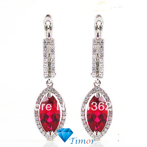 5ct Wholesale Romantic Design Trendy Fashion Pigeon Blood Red Ruby Earring Drops .925 Sterling Silver Free Shipping  <br>
