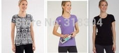 yoga tee,women tee,brand,yoga tops,yoga shirts,canada Lively Crewneck Tee purple size:2,10 by EMS(China (Mainland))