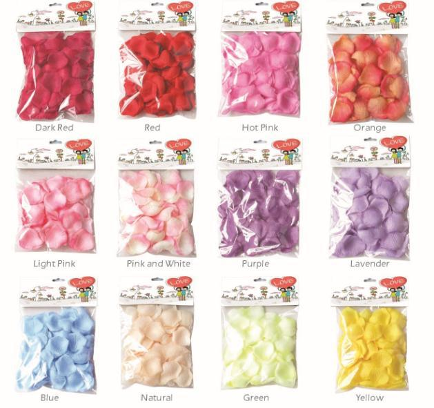 Free Shipping, 50bags party supplies wedding rose petals artificial petals 144pcs/bag 12 colors  wholesale 7116