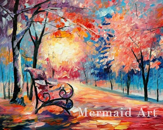 Buy Hand Painted Landscape High Quality Abstract Palette Knife Snowing Emotions Oil Painting Canvas Decoration Living Room Artwork cheap