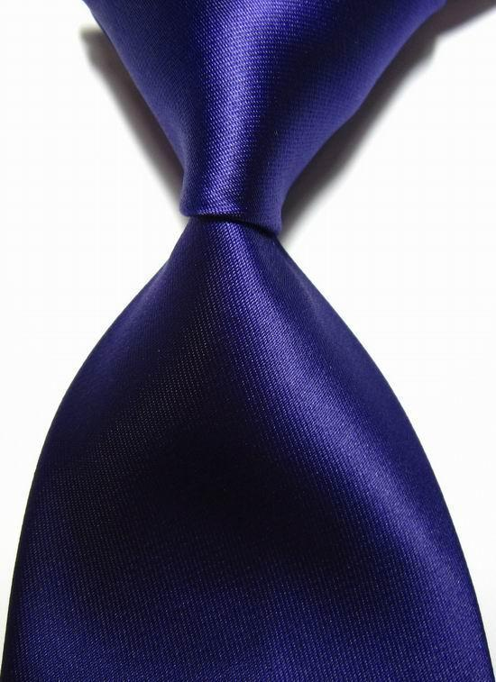 NT0411 Dark Purple Solid Plain Luxury Man s Silk Polyester Tie Jacquard Woven Classic Business Party