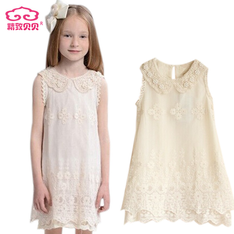 Children's wear 2015 new baby girls pearl collar lace princess dress children's dress Princess Dress top quality 5pcs/lot(China (Mainland))