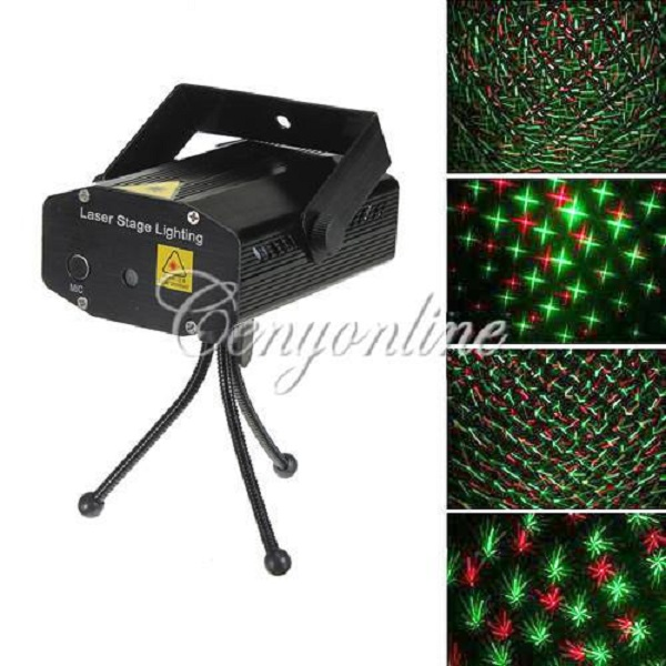 XL-S-D06 Automatic Voice Control Mini Laser R&G Lights Lighting Projector Stage DJ Disco Xmas Party Show Star Club Bar + Tripod(China (Mainland))