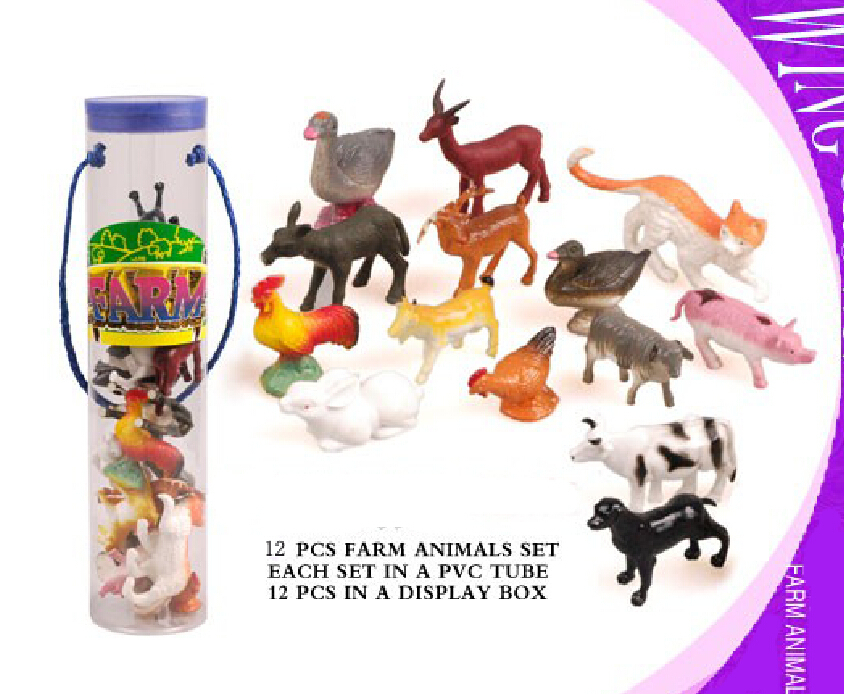 Farm Animal 12pcs/barreled domestic animals model baby toys Toy Figures Collections Children Gift(China (Mainland))