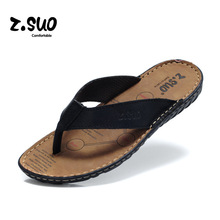 Flip Flops Men Real Leather Sandals High Quality For Men's Brand Designer School Seaside Beach Soft Bottom Summer Shoes 2016