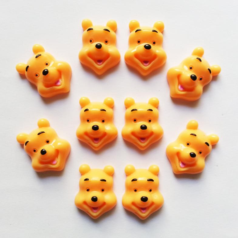 Wholesale Lot 10pcs Winnie the Pooh Bear Resin Cabochons Flatbacks Flat Back Girl Hair Bow Center Cell Phone Crafts RE-07(China (Mainland))
