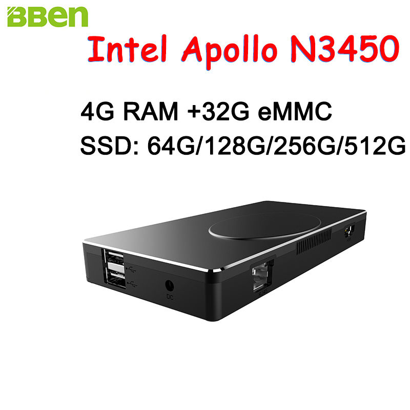 BBEN Intel Mini PC Windows 10 Intel Apollo N3450 Mini PC 4GB RAM 32GB ROM HDMI RJ45 Type C WiFi BT4.0 Stick PC Mini Computer PC(China (Mainland))