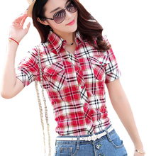 New Hot Sell Fashion Women Casual Ladies Plaid Shirts Short Sleeve Slim Turn-Down Collar Clothes Brand Shirts High Quality Tops