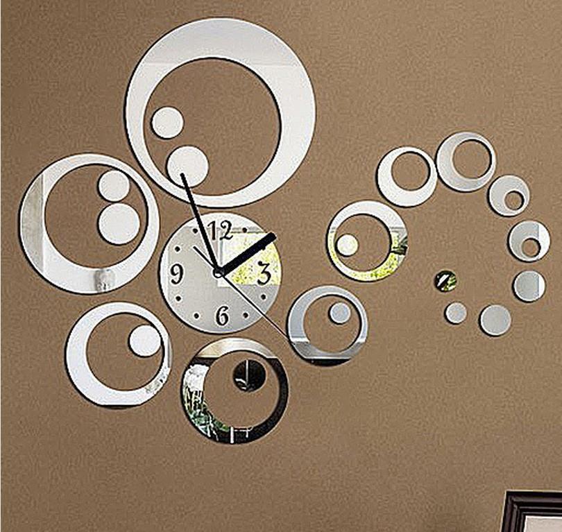 23Pieces/Set Home Decoration Fashion 3D DIY Mirror Wall Clock, The Wall Sticker Clocks Relogio De Parede On Living Room(China (Mainland))