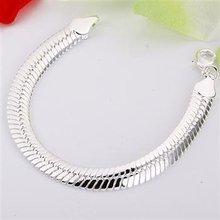 Free shipping,925 silver jewelry Bracelet ,10M flat snake bracelets, fashion jewelry Bracelet wholesale price! S070(China (Mainland))