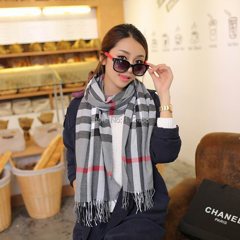 Popular style Classic Design Cashmere Copy Woman Winter Warm Check scarves WJ 209