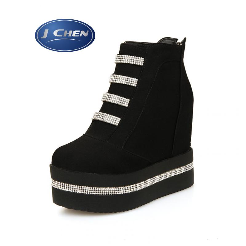 Boots female round toe platform diamond ultra high heels martin boots wedges zipper