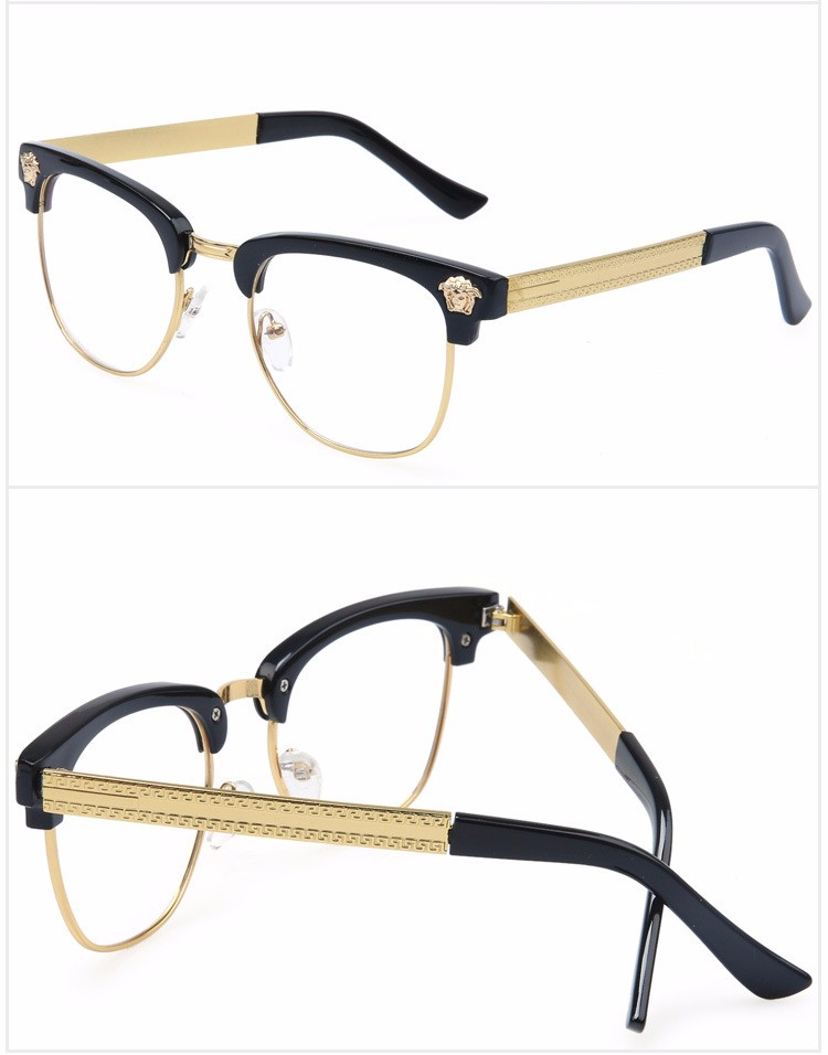 wholesale new brand black gold mens semi rimless