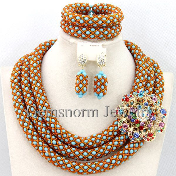 Buy Nigerian Wedding African Beads Jewelry Set Unique Indian Bridal Fashion
