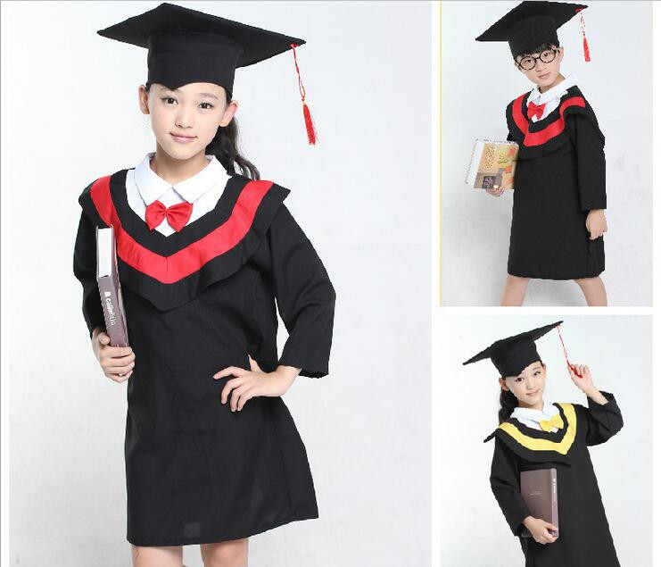 Children's Black Graduation Outfit Cap and Gown Outfit Costume Set Kids Unisex(China (Mainland))