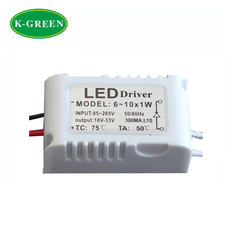 High quality (6-10)*1W with plastic shell input Voltage 90-265V  / output Voltage 18-40V 300mA LED driver free shipping<br><br>Aliexpress