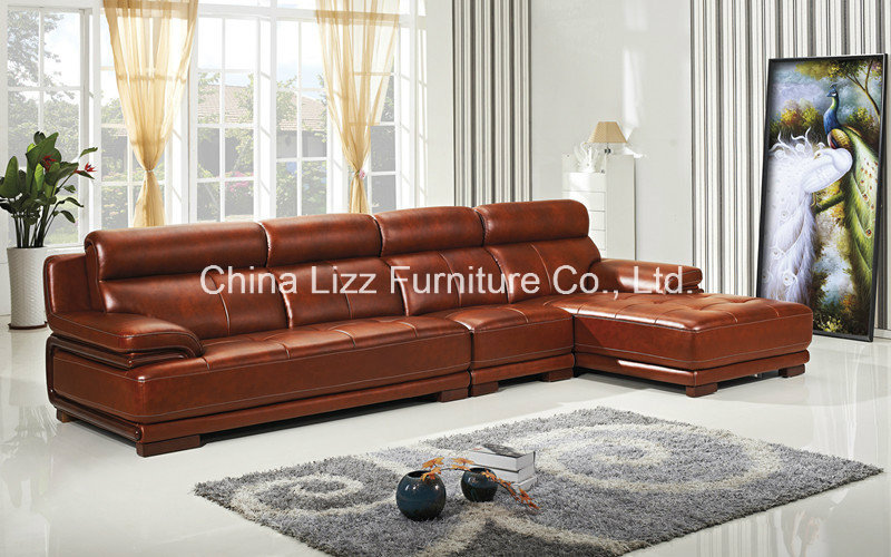 Lizz Chaise Sectional Sofa ,widest arms,imported annatto legs and top genuine italy leather.Adjustable Headrest.Customizable.(China (Mainland))