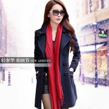 2014 autumn and winter new Korean woolen coat long paragraph big yards long sleeve woolen coat wholesale women's brands