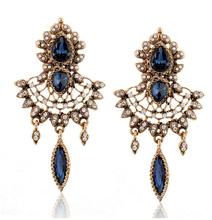 2015 Bohemia Gold statement Earrings Vintage Tassel Rhinestone Dangle Earrings Jewelry Brincos Grandes Boucles Bijoux E898(China (Mainland))