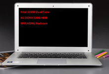 Free Shipping 14 inch Laptop Computer Notebook 4GB DDR3 320GB Intel J1800 Dual Core 2.41GHZ WIFI HDMI Webcam Portable Laptops