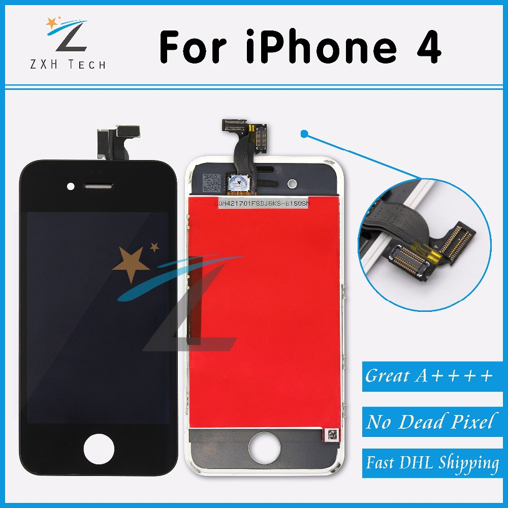 20PCS/LOT Great A++++ LCD Display&Touch Screen Digitizer Assembly for iPhone 4 Clone Top Quality White & Black Free Shipping(China (Mainland))