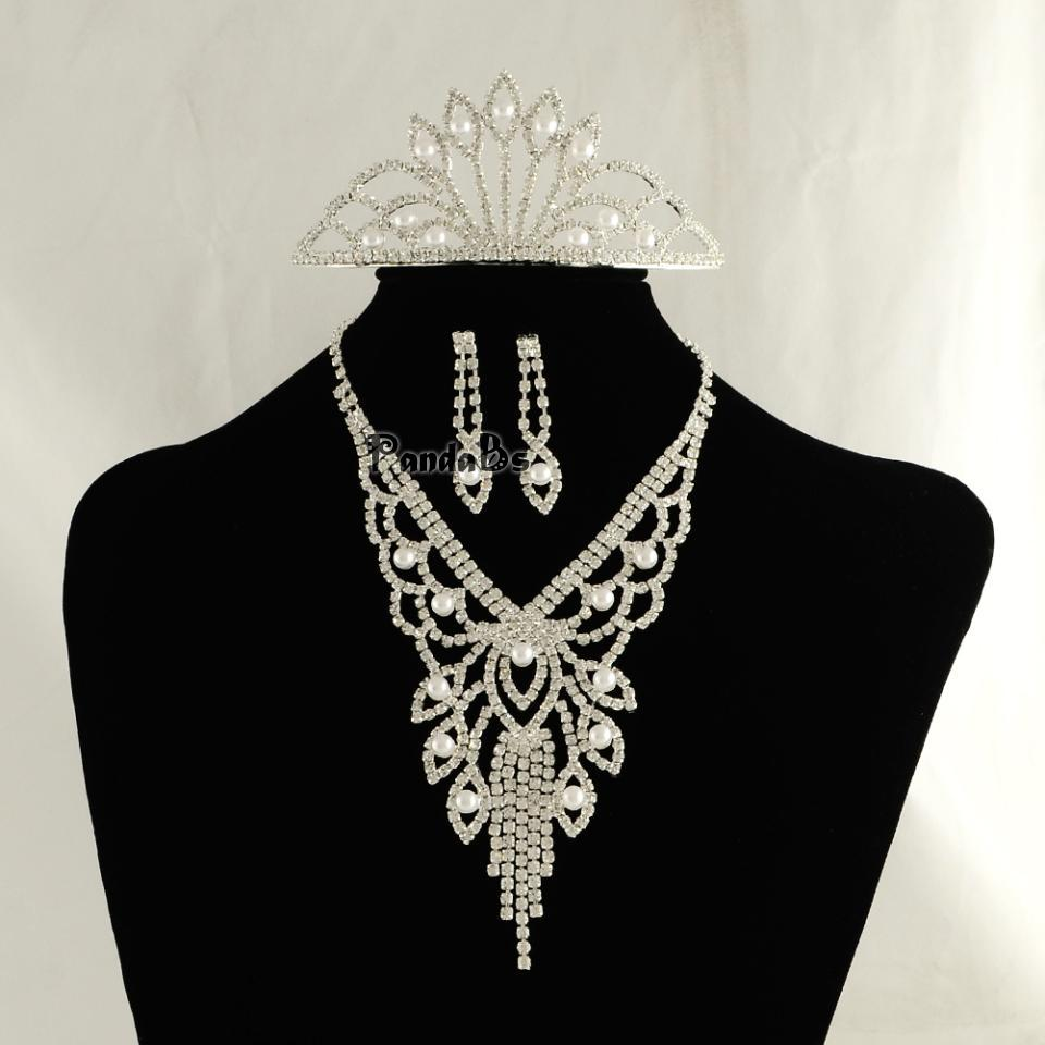 Silver Tone Brass Rhinestone Cup Chain Wedding Jewelry Sets, Bib Necklace, Stud Earring and Iron Crown Hair Comb, with ABS(China (Mainland))