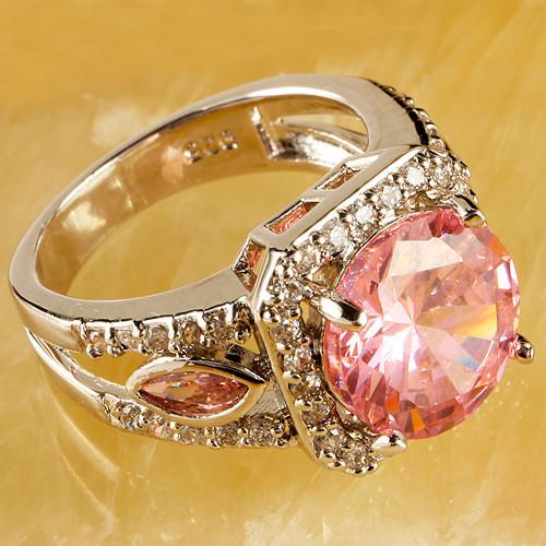 Wholesale Hot Sales Round Cut Pink Topaz Citrine Amethyst Garnet 925 Silver Ring Love Style 1-504R8(China (Mainland))