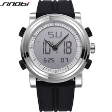 Hot SINOBI Men's Sport Watch Digital Shock Resistant High-Tech Double Mmovement Clock Military Silicone Band Relogio Masculino