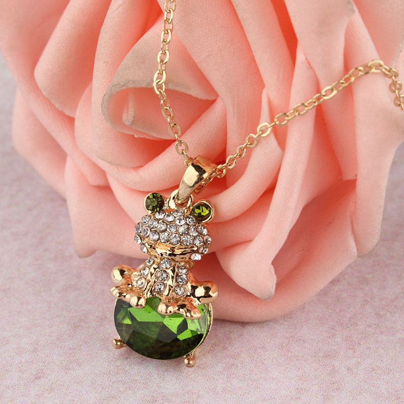 Creative Style Jewelry 14k Gold Filled Austrian Crystal Frog Pendant Unique Women's Necklace fashion 2014 Special Party Gifts(China (Mainland))