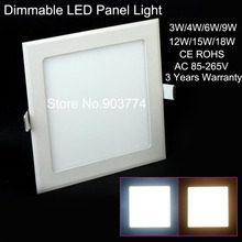 10pcs/lot Dimmable Ultra thin design 3W/6W/9W/12W/15W LED ceiling recessed grid down light slim square panel light free shipping(China (Mainland))