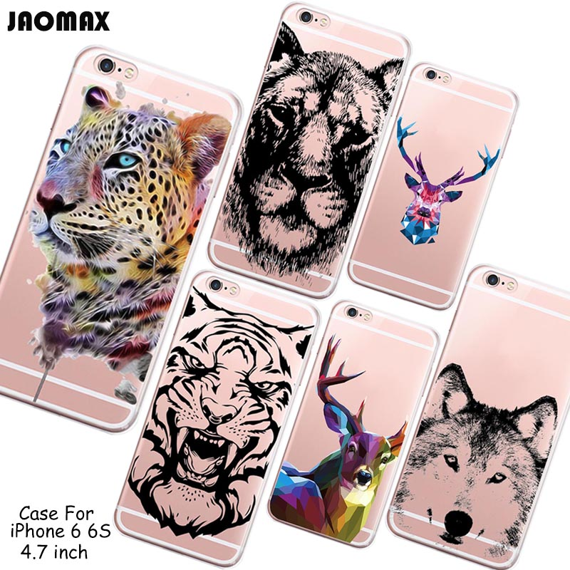 Ultrathin Pretty Animal Henna Tiger Case For iPhone 6 6S 4.7 Inch Transparent Clear Soft Silicone Phone Cover(China (Mainland))