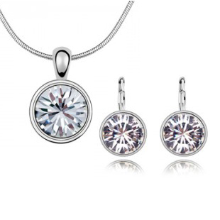 BEST -SELLING IN ALIEXPRESS ,AWESOME ROUND JEWELRY SET , SILVER PLATED /PENDANT NECKLACE +ERA STUD -B89A43(China (Mainland))