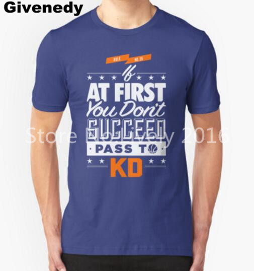 OKC Thunder - Pass To KD kevin durant 2016 men's short sleeve basketball t-shirt letter print shirts Hipster O-neck cool tops(China (Mainland))