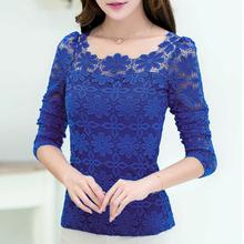 Blusas Femininas Women Plus Size 6XL Lace 2014 New Fashion Sexy Floral Tops WTL300(China (Mainland))
