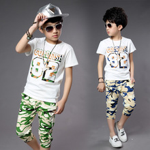 Camouflage summer clothing set for boys high quality boys clothing teenage  fashion size 8 9 10 years old big child (China (Mainland))