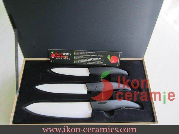 """Free Shipping! High Quality New 100% Zirconia 4"""",5"""",6"""" 3-piece (Black) Ikon Ceramic Knife Set(AJ-TZ3W-AB)"""