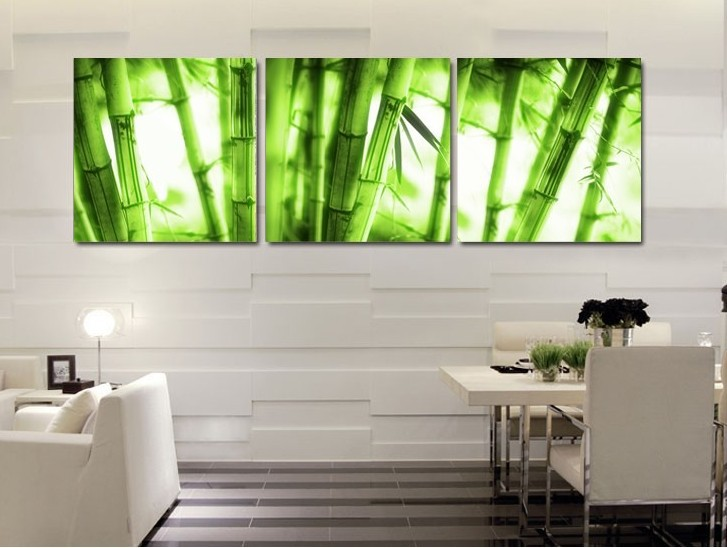 Wall Paint Bamboo Design : Piece wall art picture on canvas painting decor