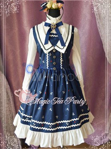 Free shipping! Newest! High - quality! Sweet Blue Pure Cotton Lace Bow Cute Lolita Jumper Dress