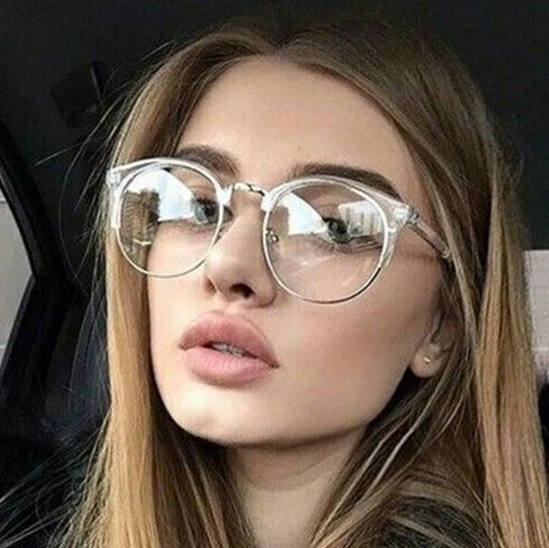 fashion cat eye clear glasses with clear lens metal half frame optical eye glasses frames women
