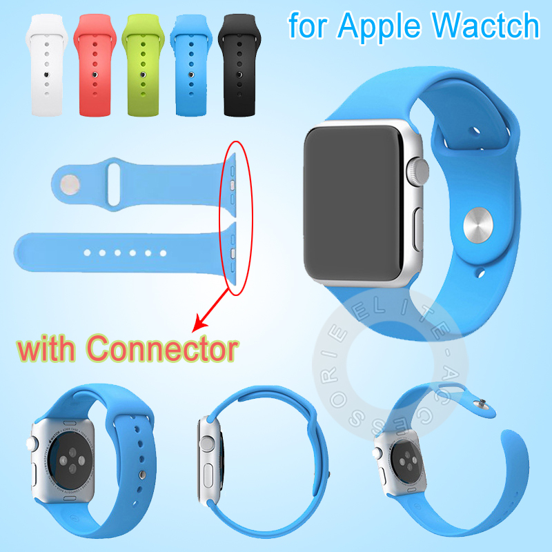 New 1 1 Original Design Silicone Band With Connector Adapter For Apple Watch 42mm 38mm Strap