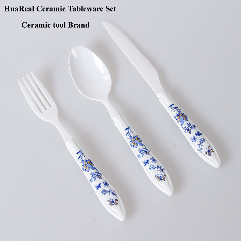 Wholesale 2015 blue and white porcelain new table dinner set fork spoon knife with ROHS/SGS/LFGB approval(China (Mainland))