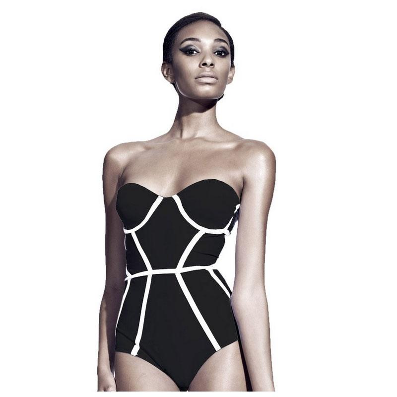2016 Sexy Black Curve Push up swimsuit one piece Sexy Bathing suit Monokini Bikinis one piece Swimming suit for Women Swimwear(China (Mainland))