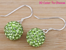 Free Shipping+Fasion 10mm Light Green Crystal Disco Ball Silver Plate Drop vintage Shamballa Earrings Jewelry Stud For Women.(China (Mainland))