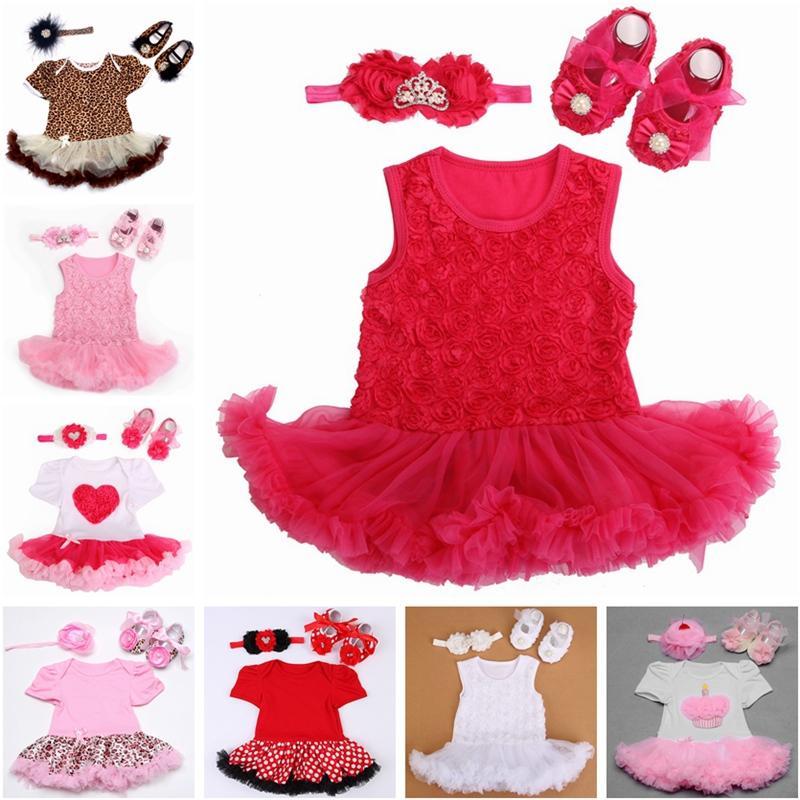 Baby girl dress Rhinestone Shoes Baby Headband Set,vestido bebe menina,clothes infant girls,Newborn girl Party christening dress(China (Mainland))