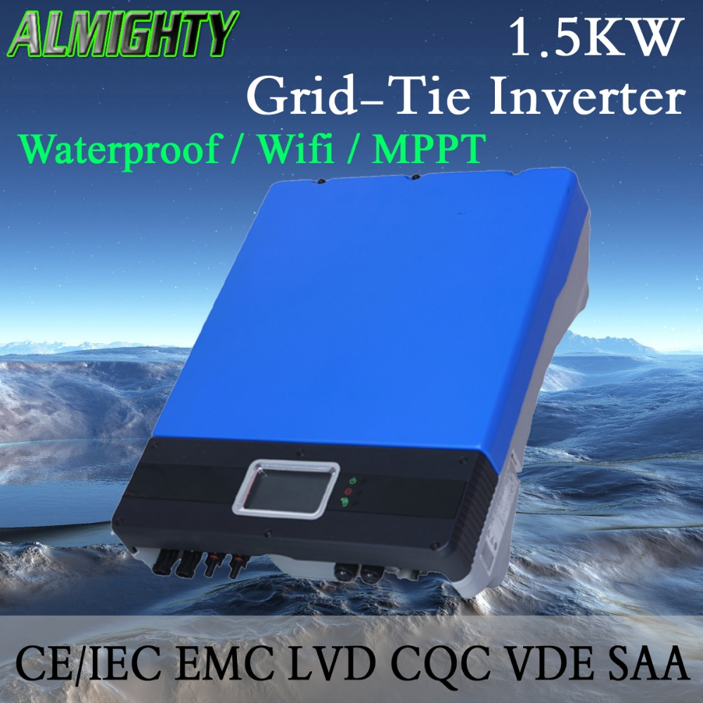 1.5KW/1500W MPPT Waterproof IP65 On Grid Solar Power Inverter Wifi Default Conversion Efficiency 99.95%(China (Mainland))
