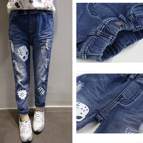 2016 European Fashion Skull Print Distressed Children Denim Jeans For Boys Girls Spring Casual Cowboy Pants Patterns(China (Mainland))