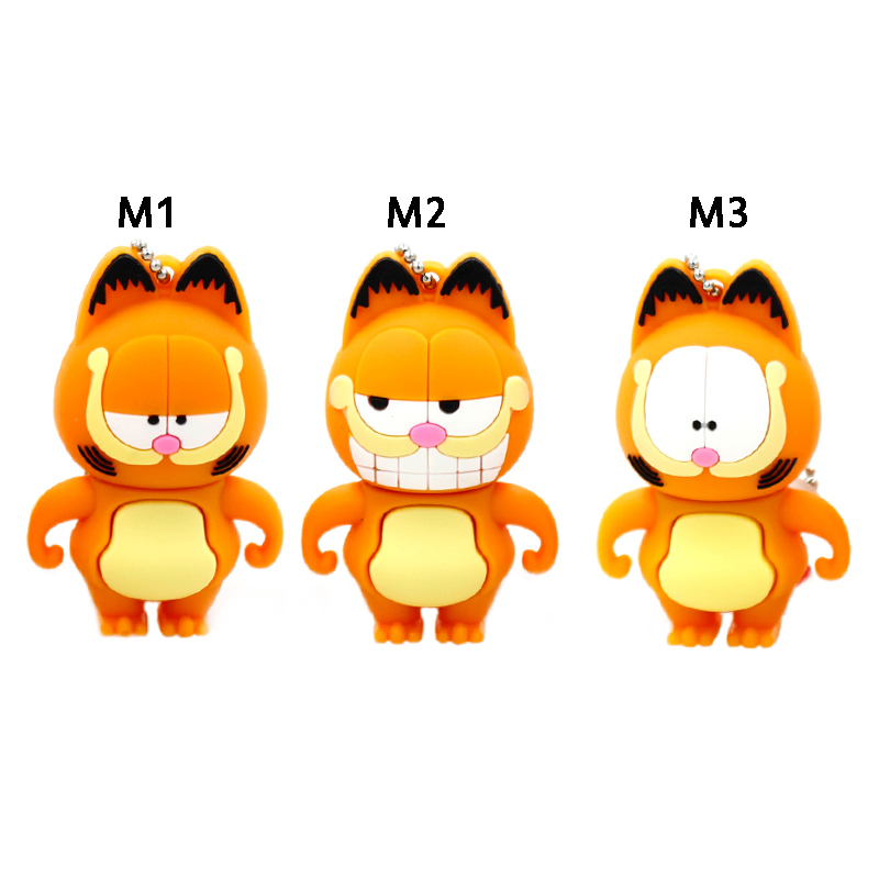 usb flash drive 64g pen drive 32g pendrive 16g 8g 4g new style Hot Sale Garfield cat animal pendrive Usb2.0 u disk free shipping(China (Mainland))