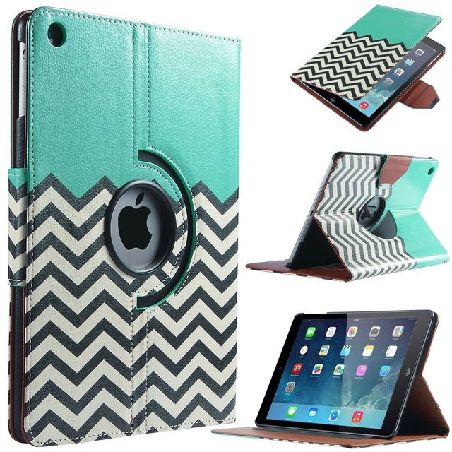 For Case Apple iPad air 1(2013) Smart PU Leather 360 Rotating Waves Flip Stand for iPad Funda w/Screen Protector Film+Stylus Pen